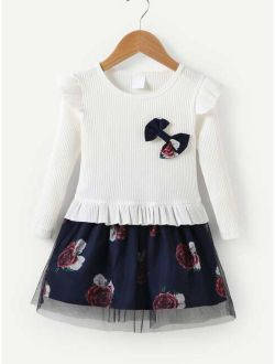 Toddler Girls Contrast Mesh Floral Print Dress