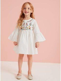 Toddler Girls Plants Embroidery Flounce Sleeve Smock Dress