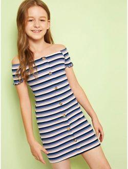 Girls Button Front Rib-knit Bardot Striped Dress