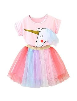 TTYAOVO Little Girls Unicorn Dress, 2pcs Unicorn Outfits with Tops Tees & Colorful Rainbow Tutu Skirts