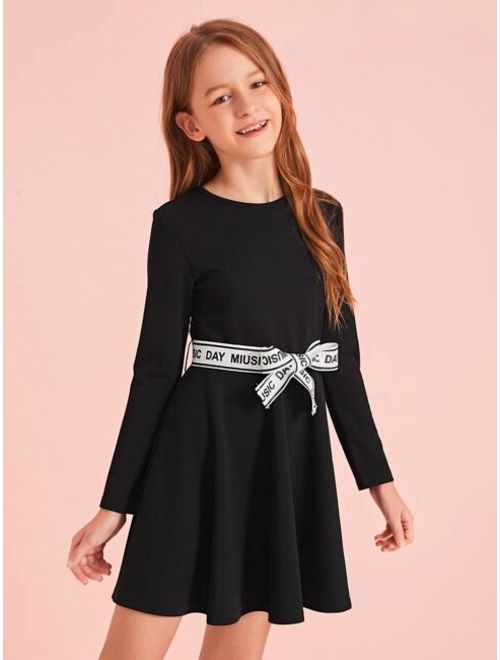 Girls Contrast Slogan Graphic Belted Flare Dress