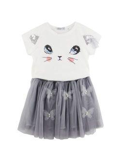 Jastore Kids Girls Cute Cat Pattern Clothing Sets Top + Tutu Skirt