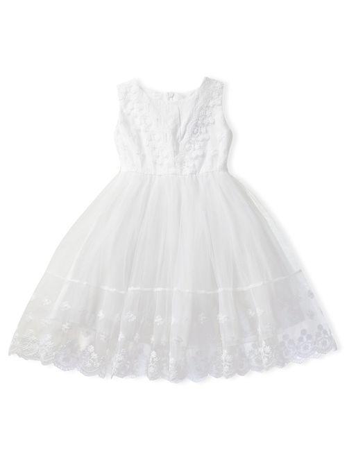 NNJXD Flower Girl's Wedding Dress Lace Sleeveless Tulle Summer Vintage Dresses