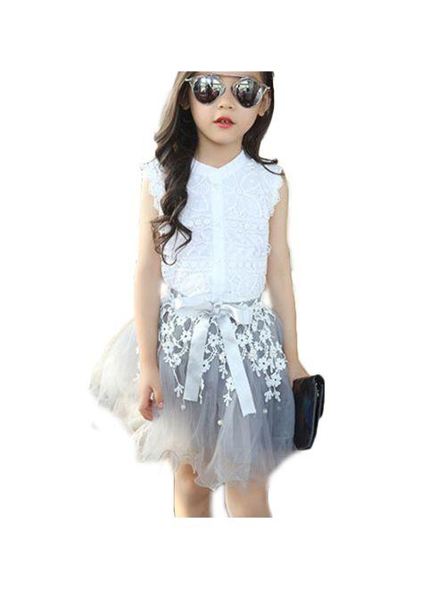 2PCS Toddler Kids Baby Girls Lace Shirt Tops Tutu Skirt Dress Outfit
