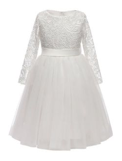 Flower Girl Dress Long Sleeves Lace Top Tulle Skirt Kids First Communion Gowns