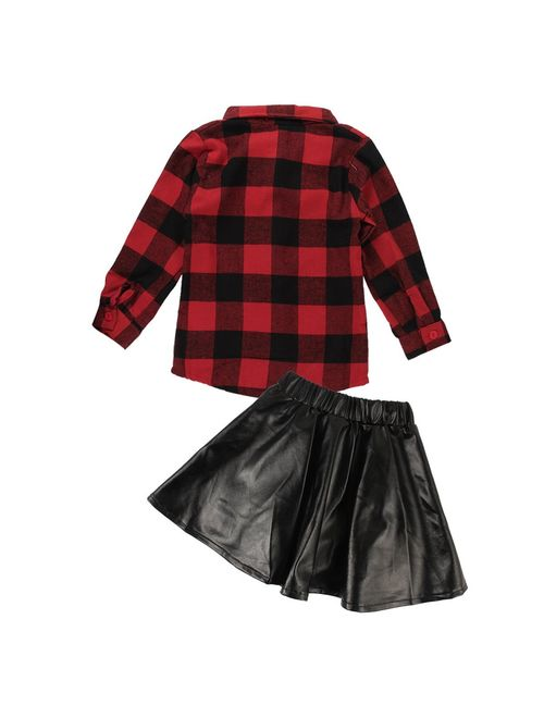2pcs Toddler Kids Baby Girls Plaid Shirt+Leather Skirt Dress Outfits Clothes Set