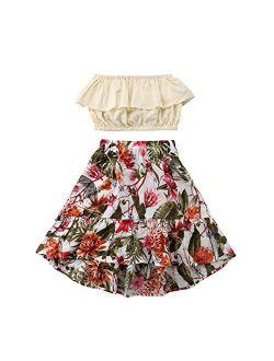 2Pcs Kids Baby Toddler Girl Sunflower Outfits Off Shoulder Crop Tops + Skirt Clothes Set