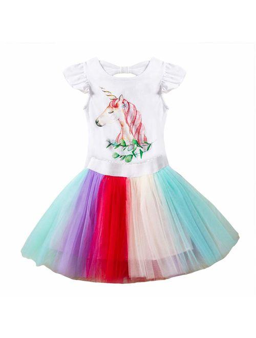 Girls Tank Dress Unicorn Rainbow Tulle Sequin Mesh Party Wedding Princess 2pcs Outfits