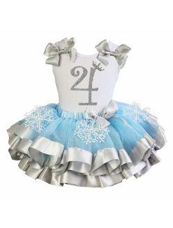 Kirei Sui Girls Blue Silver Snowflake Satin Tutu Princess 4th Birthday Outfit