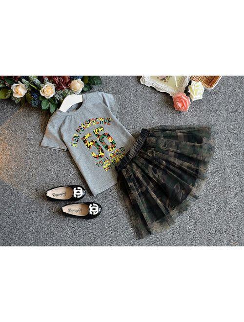 FANCYKIDS Girls Toddler Children's Shirt Top Cute Camouflage Tutu Skirt Outfit Set