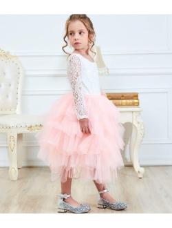 Girl Lace Back Tutu Tulle Flower Girls Princess Party Dress