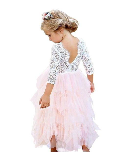 NNJXD Girl Lace Back Tutu Tulle Flower Girls Princess Party Dress