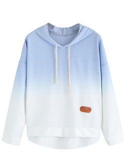 Women's Long Sleeve Hoodie Sweatshirt Colorblock Tie Dye Print Tops