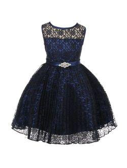 JM DREAMLINE Lovely Tulle Pleated Lace Flower Girl Dress