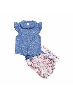 Toddler Kids Little Girl Summer Clothes Floral T-Shirt Top+ Denim Shorts Outfits Set