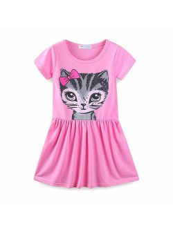 Summer Cat Dresses For Girls Short Sleeve Casual Cotton Clothes