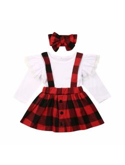 3PCS Toddler Baby Girls Christmas Outfit Ruffle Sleeve Deer Santa Tops+Suspender Plaid Skirt Set