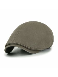 ililily Washed Cotton Flat Cap Cabbie Hat Gatsby Ivy Irish Hunting Newsboy Stretch Big Hat