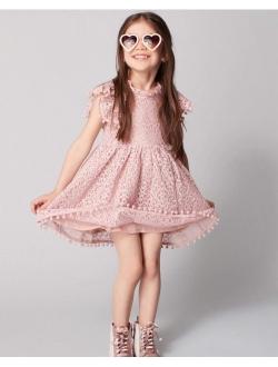 2Bunnies Girl Vintage Lace Pom Pom Trim Birthday Party Flower Girl Dress