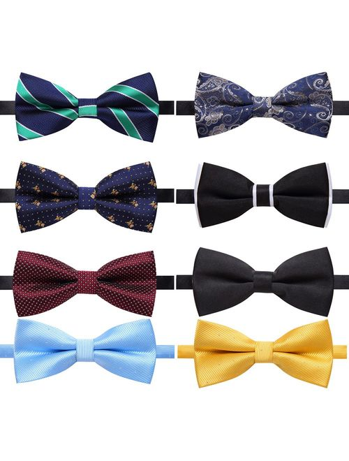 AUSKY 8 PACKS Elegant Adjustable Pre-tied bow ties for Men Boys in Different Colors1&5&6&8Pack for option)