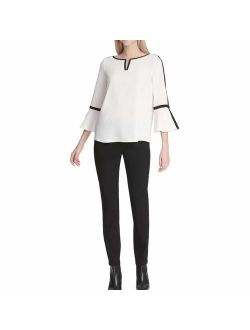 Womens Bell Sleeve Top With Piping And Hardware