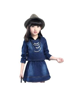 AIMBAR Kids Girls Casual Washed Denim Long Sleeve Top & Clothing Set Size 4-13 Years
