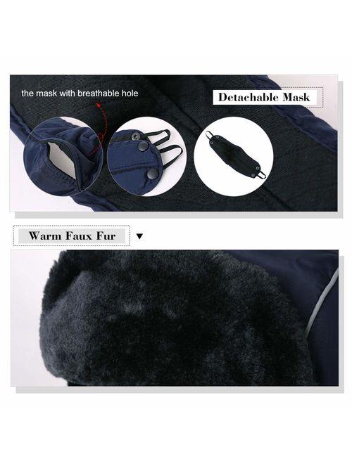 SIGGI Faux Fur Trapper Hat for Men Cotton Warm Ushanka Russian Hunting Hat