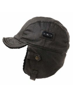 Comhats Aviator Hat Faux Leather Pilot Cap Adult Men Winter Trapper Hunting Hat