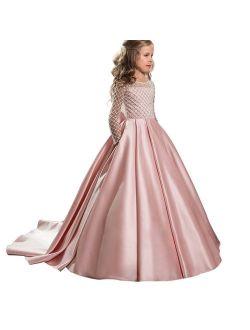Christmas Flower Girl Dress Floor Length Button Draped Tulle Ball Gowns for Kids