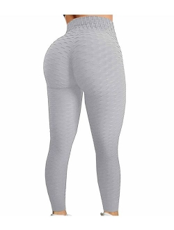 High Waisted Yoga Pants Tummy Control Scrunched Booty Leggings Workout Running Butt Lift Textured Tights