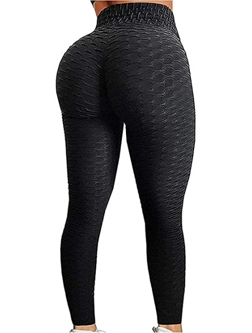 FITTOO High Waisted Yoga Pants Tummy Control Scrunched Booty Leggings Workout Running Butt Lift Textured Tights