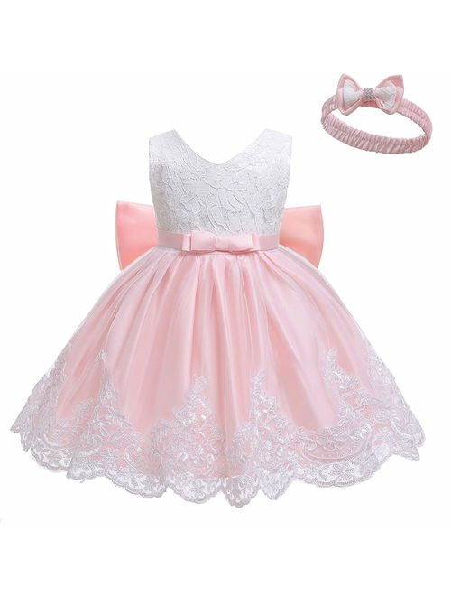 Baby Dresses Flower Lace Pageant Party Wedding Flower Girl Tutu Gown