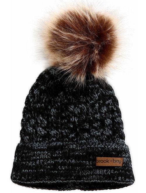 Brook + Bay Kids Pom Pom Beanie for Girls & Boys - Warm & Cute Baby & Toddler Winter Hats for Children