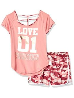 One Step Up Girls' Soft Knit Top and Short Set