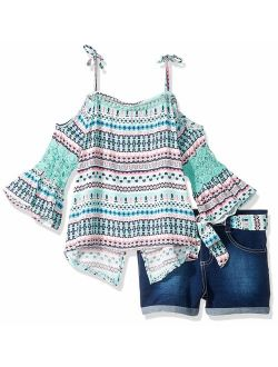 Girls' 2 Piece Fashion Top And Belted Short Set