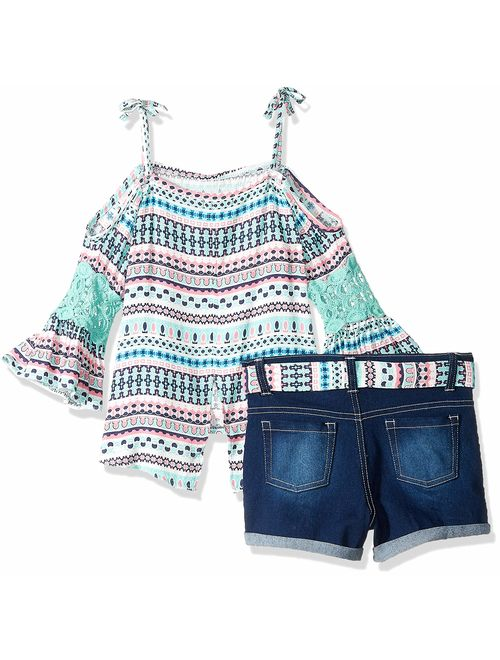 Limited Too Girls' 2 Piece Fashion Top and Belted Short Set