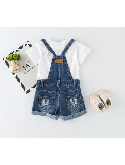 Chumhey Big&Little Girls 2Pc Big Bib Jeans Summer Shortalls Set T-Shirts