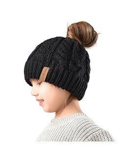 Winter Hats For Girls Ponytail Beanie Hat Kids Toddler Girl Knit Cap Messy Bun, Age 3-10 Years