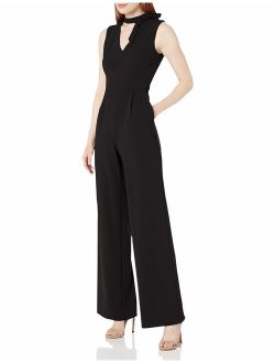 Women's Sleeveless V Jumpsuit With Tie Neck