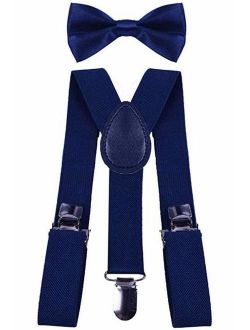 BODY STRENTH Kids Suspenders Y Back and Bow Tie Set Elastic for Wrdding Party
