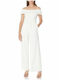 Women's Off The Shoulder Jumpsuit With Folded Collar
