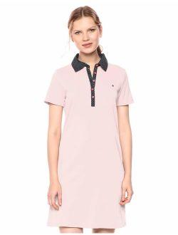 Women's Contrast Dot Print Polo Collar Sneaker Dress