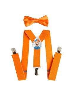 Kids Orange Suspenders And Bow Tie For, Orange, Size Toddler/child