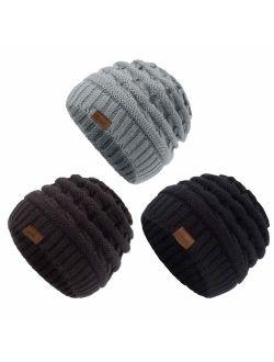 ViGrace Kids Winter Knit Hat Warm Fleece Lined Hats Children Cable Baby Beanie