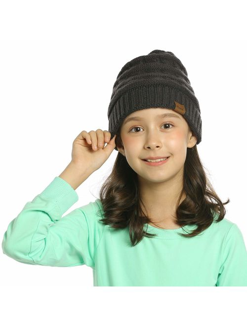 ViGrace Kids Winter Knit Hat Warm Fleece Lined Hats Children Cable Baby Beanie