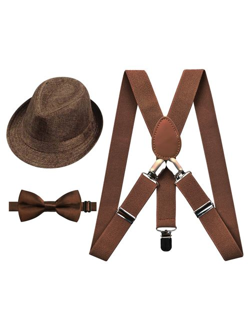Alizeal 1 inch Suspender and Bow Tie Set with Hat for Kids