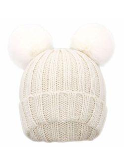 Simplicity Kids Girls Boys Winter Pompom Knit Ski Beanie Hat Cap