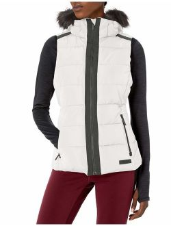 Women's Quilt Walker Vest With Faux Fur Trim Detachable Hood