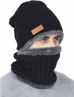 Winter Men Hat Scarf Set, Beanie Hat Neck Warmer for Women