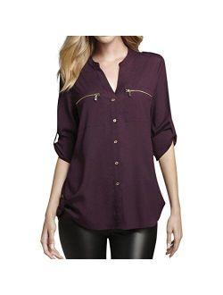Women's Modern Essential Zipper Button-front Blouse